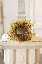 CANDLE RING~ARTIFICIAL CANDLE RING~SMALL WREATH~MOSS GREEN LEAVES