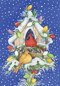 Garden Flag, Christmas, Cardinal Lights, Snow, Birdhouse