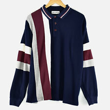 New listing Max Austin Striped Blue Maroon Vtg Long Sleeve Polo Button Collar Rugby Shirt L