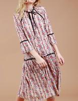 NEW Floral Lace Drop Waist Trumpet/Bell Sleeve Romantic Boho POL Dress Large