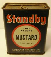 Vintage 1940s STANDBY MUSTARD SPICE TIN SEATTLE WASHINGTON MINNEAPOLIS MINNESOTA