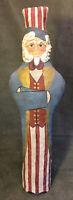 Vintage Uncle Sam Folk Art Hand Painted Cloth Sculpture/Figure Patriotic