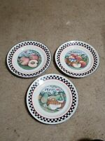 "Susan Winget Certified International Fruit Dinner Plates Round 9-1/2"" Set of 3"