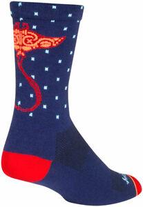SockGuy Ray Crew Socks | 6 inch | Blue/Orange/Red | S/M
