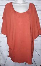 Derek Heart Plus Womans Batwing Knit Top Size 3X Rust Orange  PT/A-42