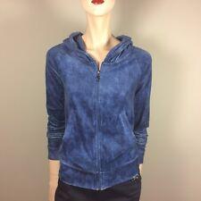 JUICY COUTURE Kapuzen Sweat Shirt XS 34 Blau Samt Hoody Training Jacke Sport