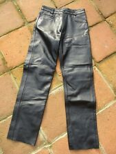 BNWOT MEN'S MDK SIZE 32 R BLACK MOTORCYCLE LEATHER JEANS WITH 5 POCKETS