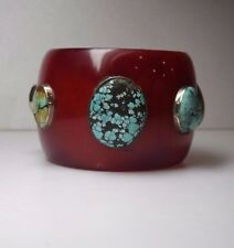 VNT HIGH END DESIGNER MAROON PLASTIC STERLING  GENUINE TURQUOISE BANGLE BRACELET
