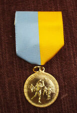 gold male Volleyball medal  light blue and gold  pin drape 1 1/4""
