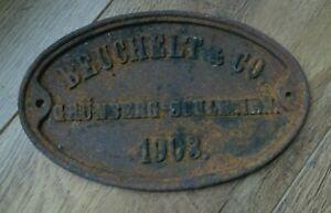 Industrial sign Antique Cast Metal 21cm Beuchelt &Co 1903 Poland Bridge Builders