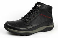 Mens Leather Boots Smart Lace Up Ankle Biker Casual Work Comfort Shoes Size UK