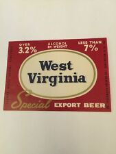 West Virginia Special Export Beer Label Vintage Fesenmeier Brewing Co