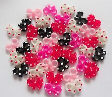 "20pc x 3D Acrylic Nail Art ""Spotty Polka Dot Bow-Tie Bow Mix S"" Craft Decoration"