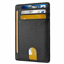 Mens RFID Blocking Leather Slim Pocket Wallet Credit Card Holder Coin Money Clip