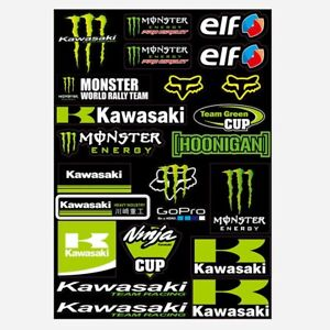 Autocollant MONSTER ENERGY KAWASAKI 5 adhésif STICKERS  MOTO CARENAGE