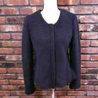 NWT Ann Taylor LOFT Navy Blue Textured Knit Peplum Blazer Career Jacket Sz M $90
