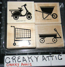 STAMPIN UP THE WHEEL THING 4 RUBBER STAMPS SCOOTER BARROW WAGON CART