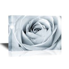wall26 - Floral Canvas Wall Art - White Rose Close Up - 24x36 inches