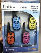 Uniden UH35-4 UHF Quad 4 Colour Pack Handheld 80Ch Radio Walkie Talkies +Belts