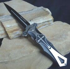 Medieval Spring Assist  BLACK CROSS Celtic Crusader Dagger Pocket Knife