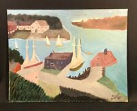 Vintage mid century painting. East coast sea port. Camden, Maine? Signed 1961.