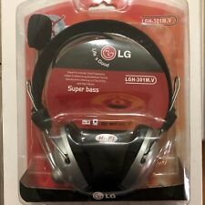 NEW LG SUPER BASS HI-FI STEREO PC HEADPHONES WITH MICROPHONE & VOLUME LGH-301M.V