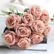 1/10 Head Artificial Silk Flowers Roses Wedding Bouquet Flower Home Garden Decor