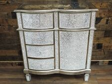 SILVER MOSAIC MIRRORED SMALL SIDEBOARD WITH 5 DRAWERS, CRACKLE GLASS SIDE UNIT