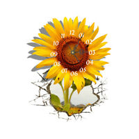 Modern DIY Analog 3D Large Number Wall Clock Sticker Home Decor - Sunflower