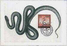MAXIMU CARD - Fauna REPTILES snake : PORTUGAL 1967  #2