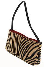 KATE SPADE Zebra Print Tan & Black Fabric Sateen Twill Sm Shoulder Bag Clutch