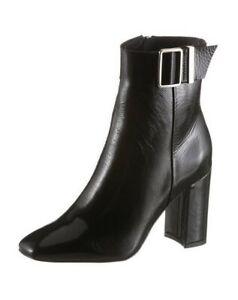 Tommy Hilfiger PATENT SQARE TOE BOOT Damen Stiefeletten Leder Schwarz Schuhe