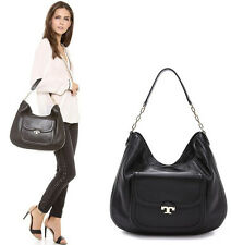NWT Tory Burch Sammy Pebbled Leather Hobo Handbag in Black-$525