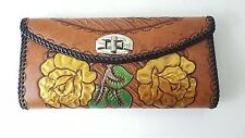 Vintage Upcycled Hand Tooled Leather Wallet Photo Large cash pen area rose