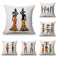 "African Women Home Cotton Linen Car Bed Sofa Waist Cushion Pillow Case Cover 18"""