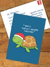 Funny Cute Chrismas Xmas Postcard 'Turtely Awesome' Comedy Humour Novelty Joke