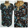 Ladies Ex Store Black Mix Floral print T-shirt Summer Tunic Top Size:8 - 24