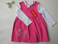 Ollie's Place Baby Girl Corduroy Pinafore Dress + Romper Size 0 Fits 9-12m NEW