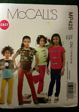 McCall's Easy Sewing Pattern MP425 CHJ Girls  sizes 7-14 Brand New