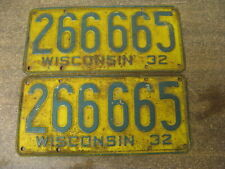 1932 32 WISCONSIN WI LICENSE PLATE PAIR 266665