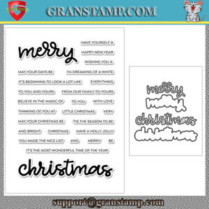 MERRY CHRISTMAS Metal Cutting Dies and stamps DIY Scrapbooking