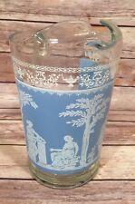 Vintage 2 Quart Glass Pitcher Greek Roman Wedgwood Blue