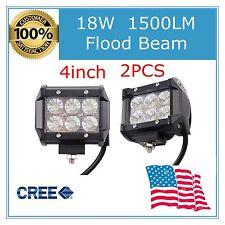 2X 18W 4'' Cree LED FLOOD WORK LIGHT BAR DRIVING OFF ROAD FOG LAMP 4WD Truck 36W