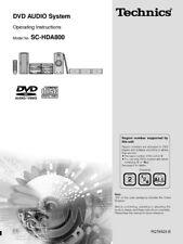 Technics SC-HDA800 SE-HDA800 ST-HDA800 SL-HDA800 RS-HDA800 DVD Manual Reprint
