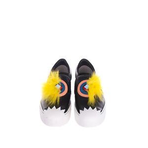 RRP €725 FENDI ROMA Leather Sneakers Size 36 UK 3 US 6 Monster Eye Fox Fur Logo