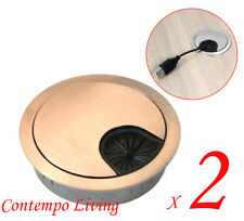 "Set of 2 Computer Desk Table Cabinet 2-3/8"" Rose Gold Round Grommet Hole Cover"