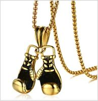 Gold Silver Plated 2 Boxing Glove Sports Pendant Chain Necklace Mens Boys Gift