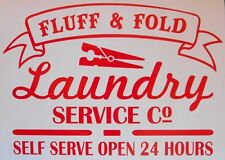 Laundry Service Fluff & Fold Kitchen Utility Room Vinyl Sticker Wall Tile