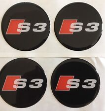 AUDI S3 ALLOY WHEEL CENTRE CAP STICKERS DOMED RESIN Badge 55mm X4