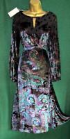 New MONSOON UK14 COSMIC Velvet Devore Chiffon Black Blue Paisley Fit&Flare Dress